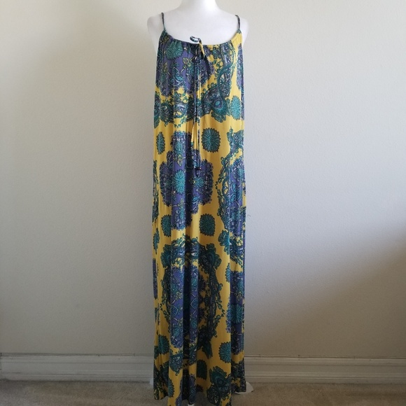 Anthropologie Dresses & Skirts - Nieves Lavi NY Yellow/Purple Silk Twill Maxi Dress